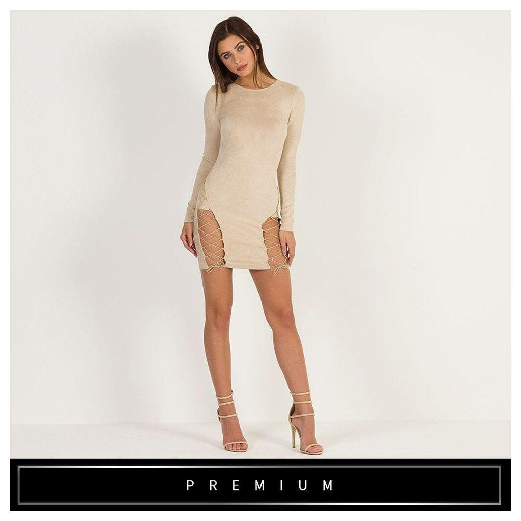 Maniere De Voir; Suede Lace-Up Bodycon Dress - Beige