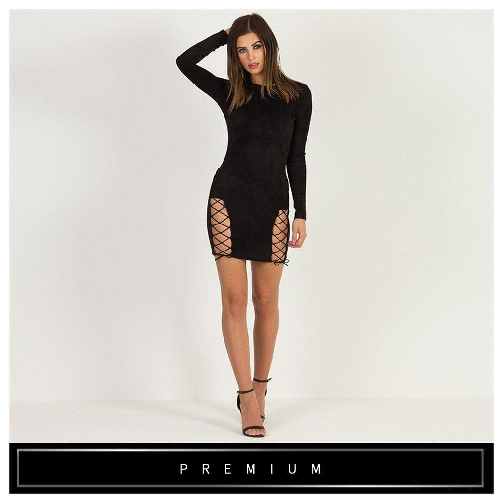 Maniere De Voir; Suede Lace-Up Bodycon Dress - Black