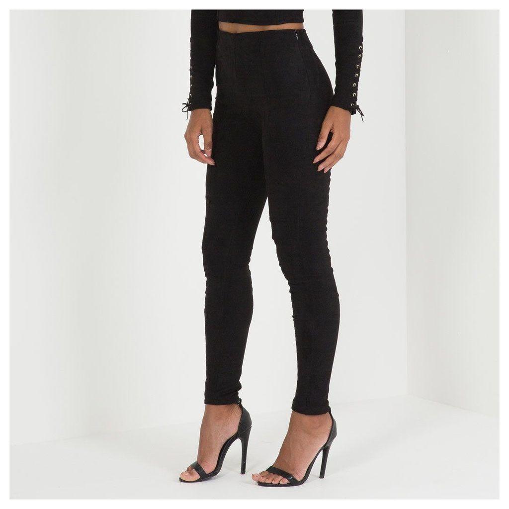 Maniere De Voir; Suede Lace-Up Legging - Black