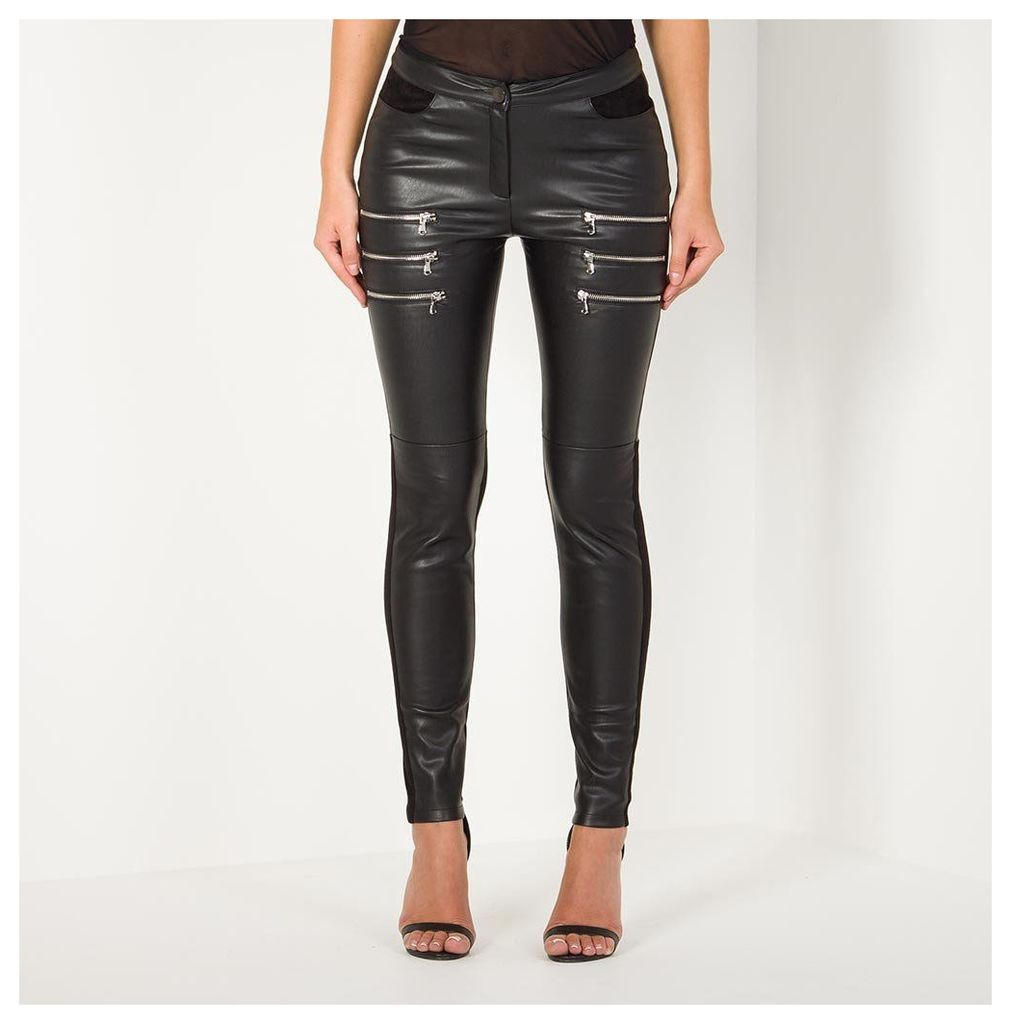 Maniere De Voir; Leather Zipper Legging - Black