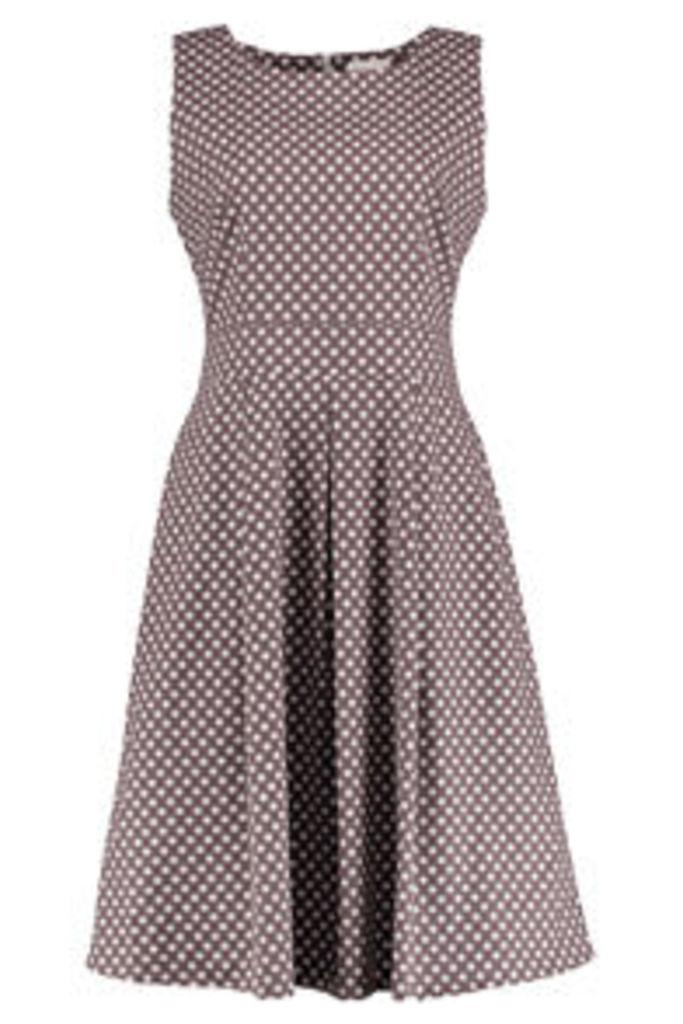 Stone & Cream Polkadot Print Structured Dress