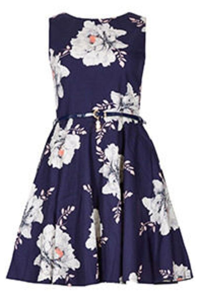 Navy Pink & Grey Peony Print Skater Dress