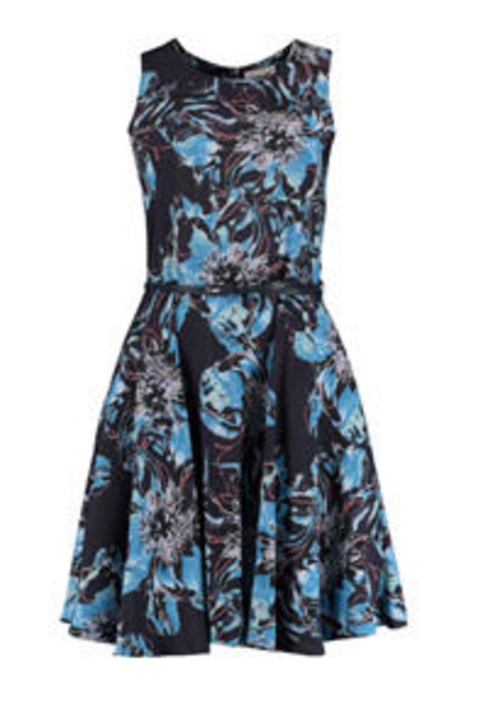 Navy Blue & Pink Water Flower Print Skater Dress