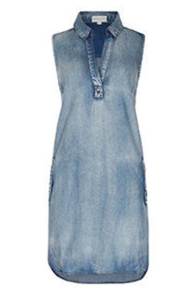 Light Blue Denim Look Shirt Dress