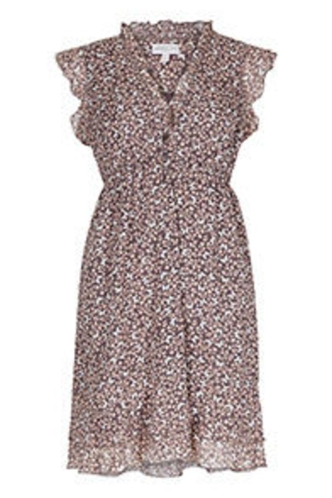 Grey Pink & White Ditsy Butterfly Print Tea Dress