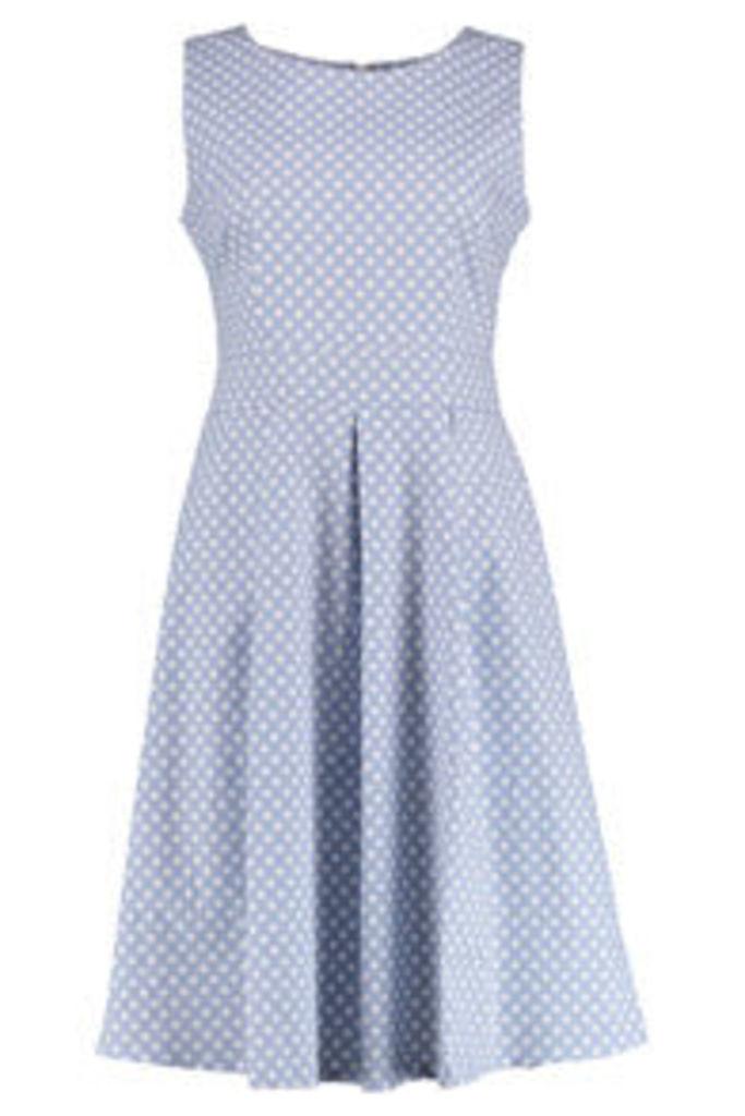Blue & White Polkadot Print Structured Dress