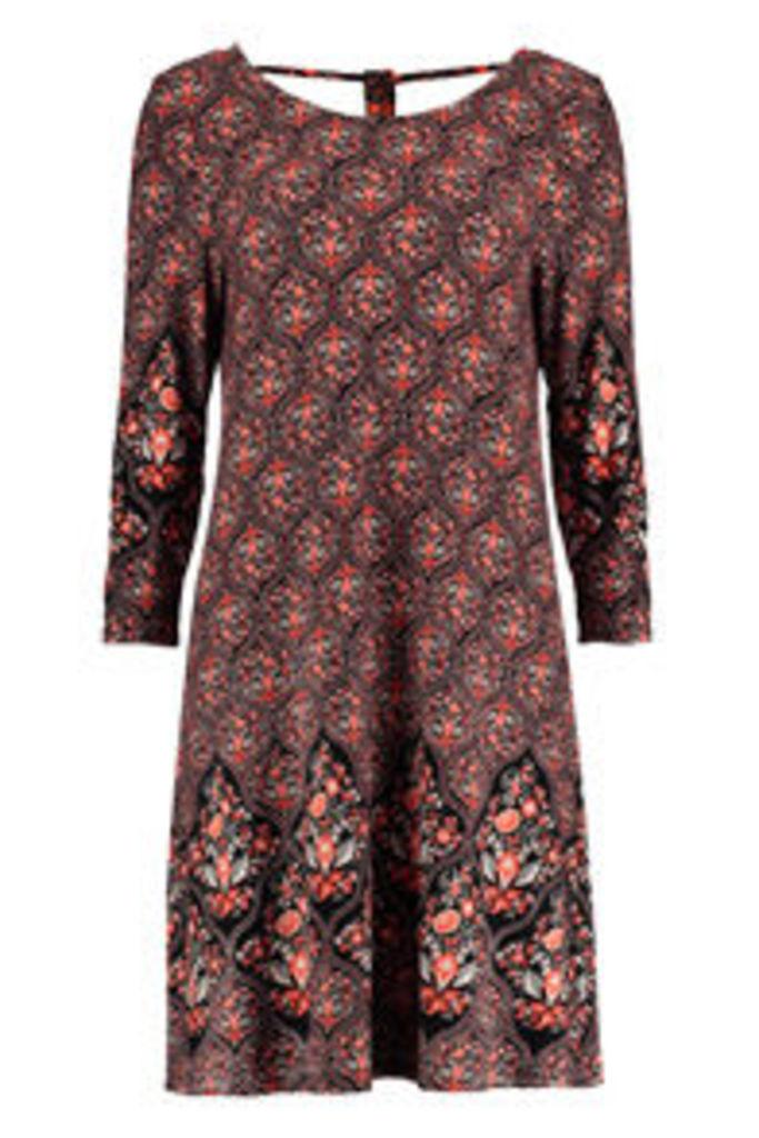 Black & Coral Ornate Floral Paisley Print Swing Dress