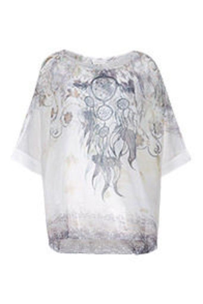 White Grey & Stone Watercolour Dreamcatcher Print T-Shirt