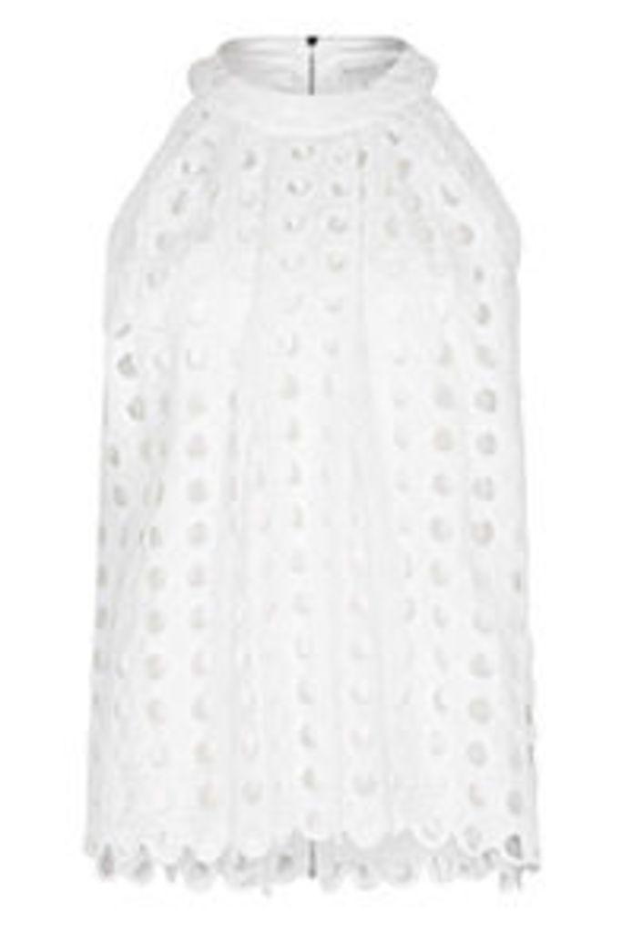 White Circle Crochet Blouse