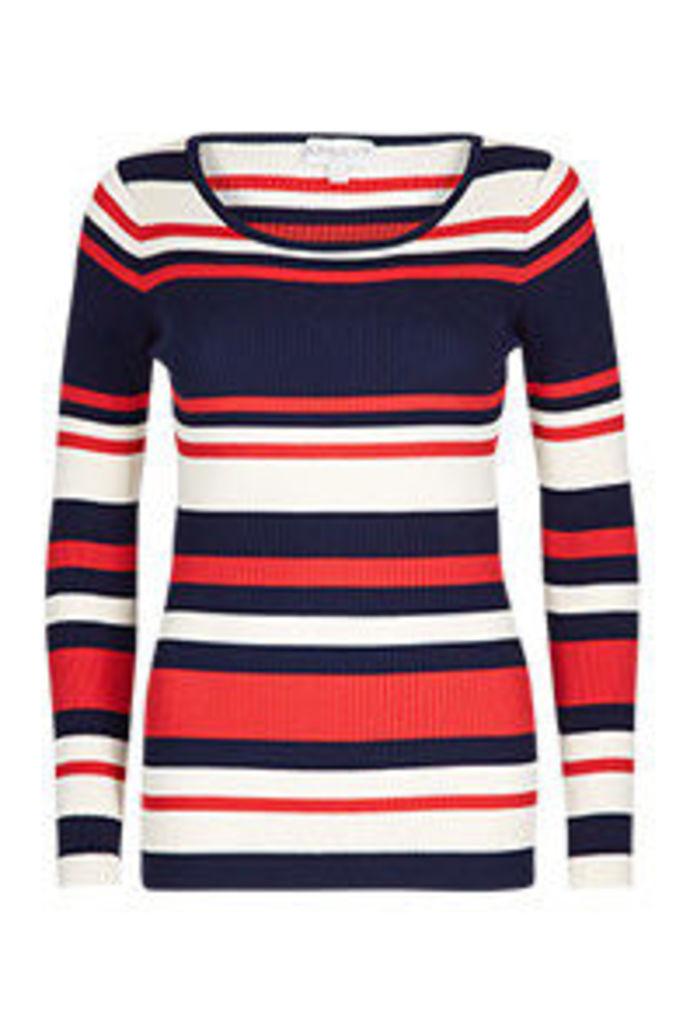 Navy Rust & Cream Stripe Pattern Long Sleeved Top