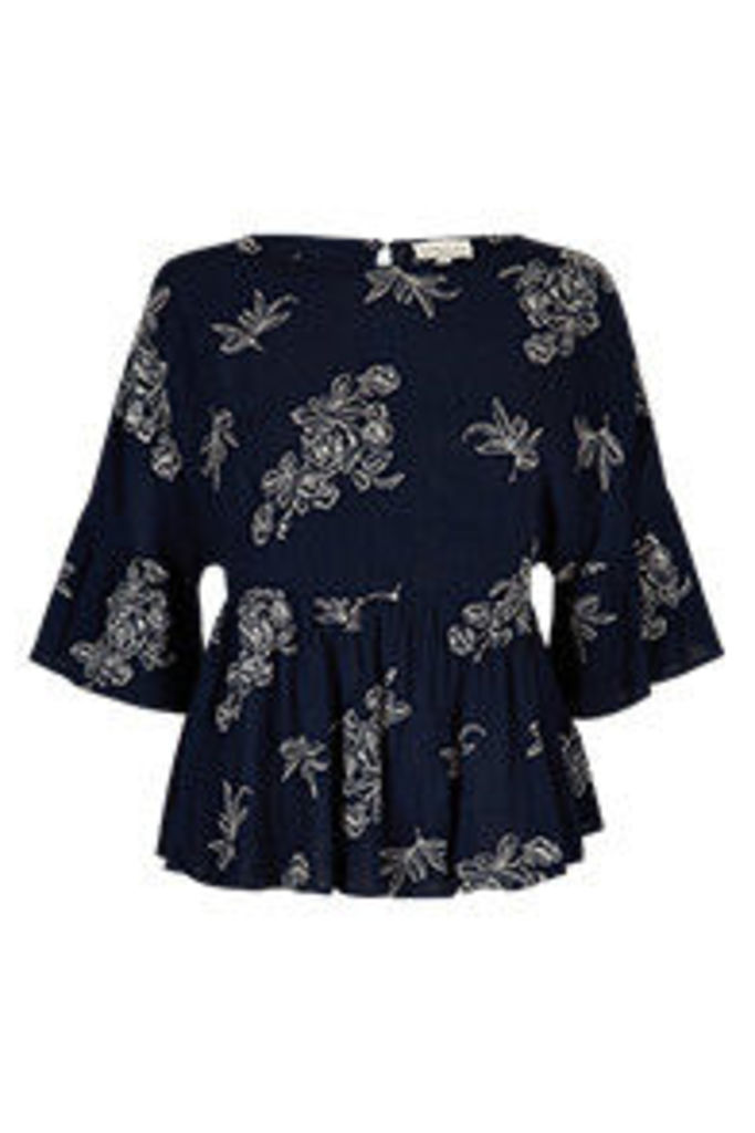 Navy & White Floral Embroidered Outline Swing Top