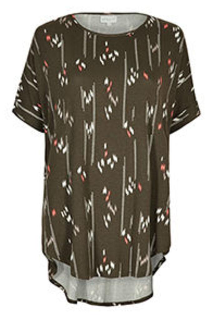 Khaki Coral & White Ikat Print T-Shirt