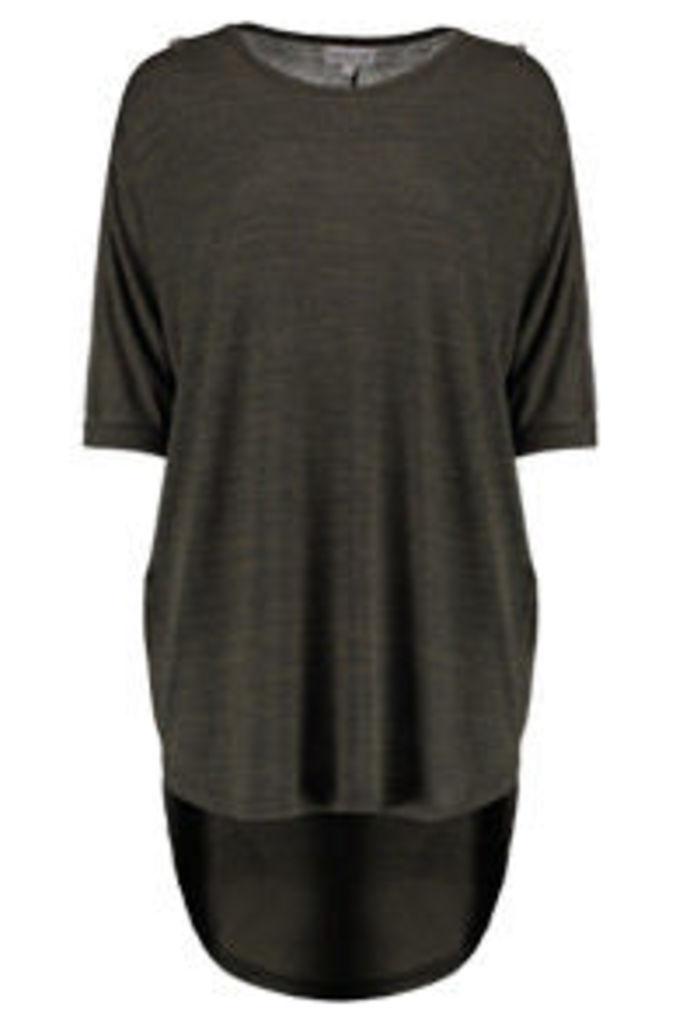 Khaki Marl Zip Cold Shoulder Tunic Top