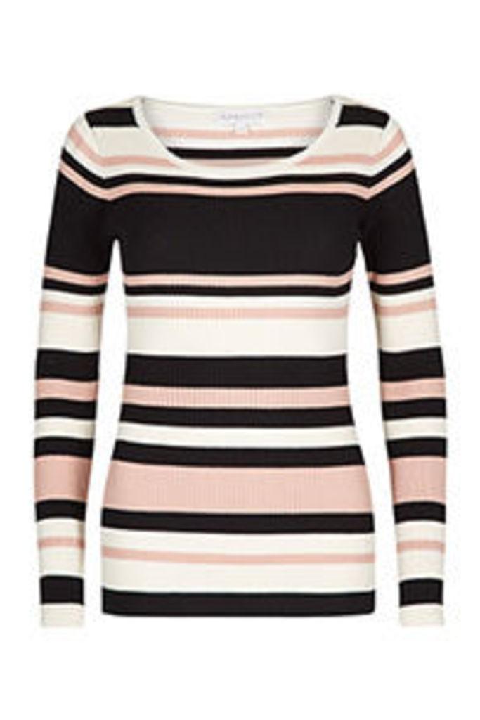 Black Pink & Cream Stripe Pattern Long Sleeved Top