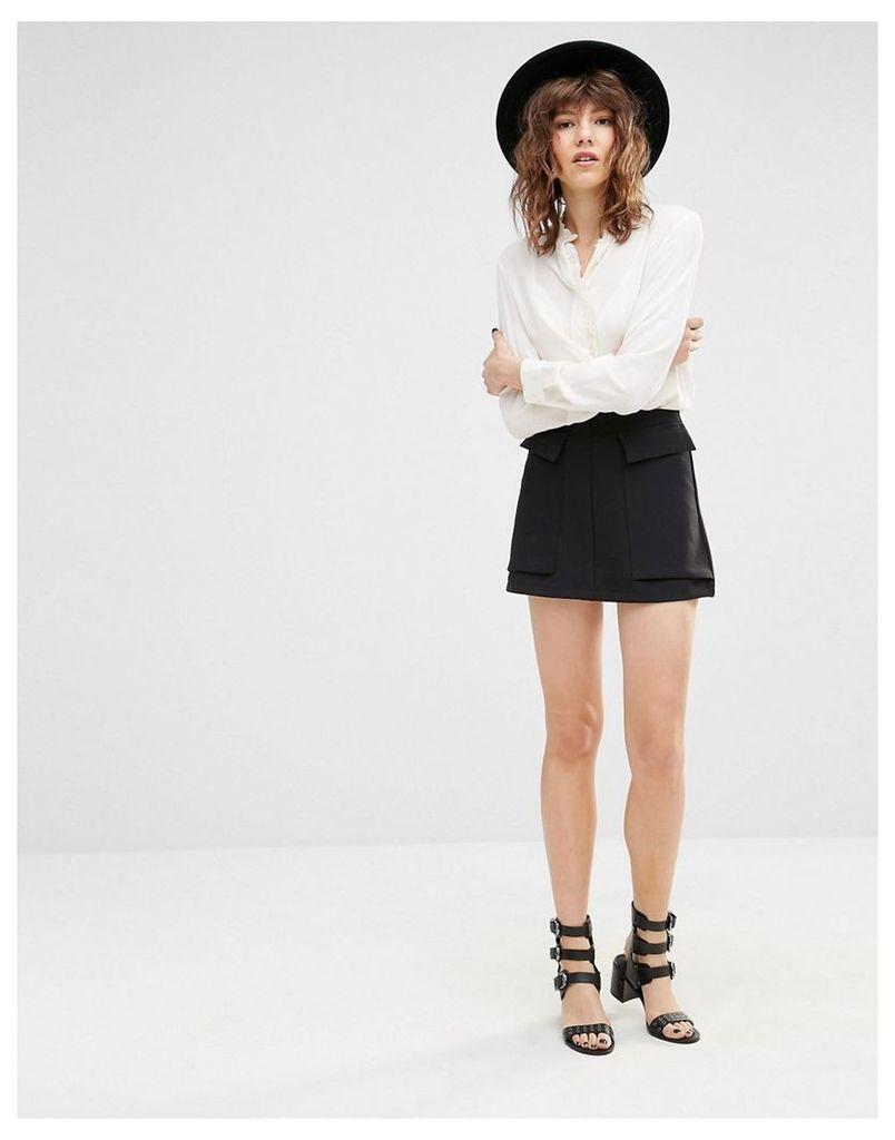 Mango Large Pocket Mini Skirt - Black