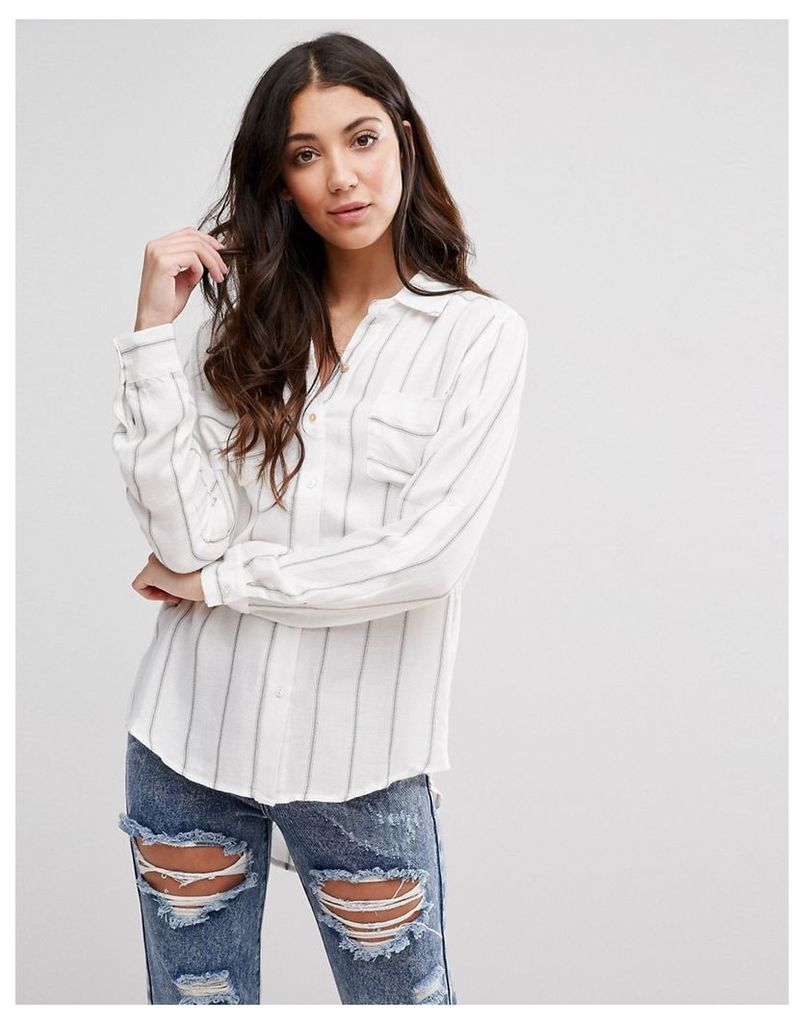 Glamorous Stripe Shirt - White brown stripe
