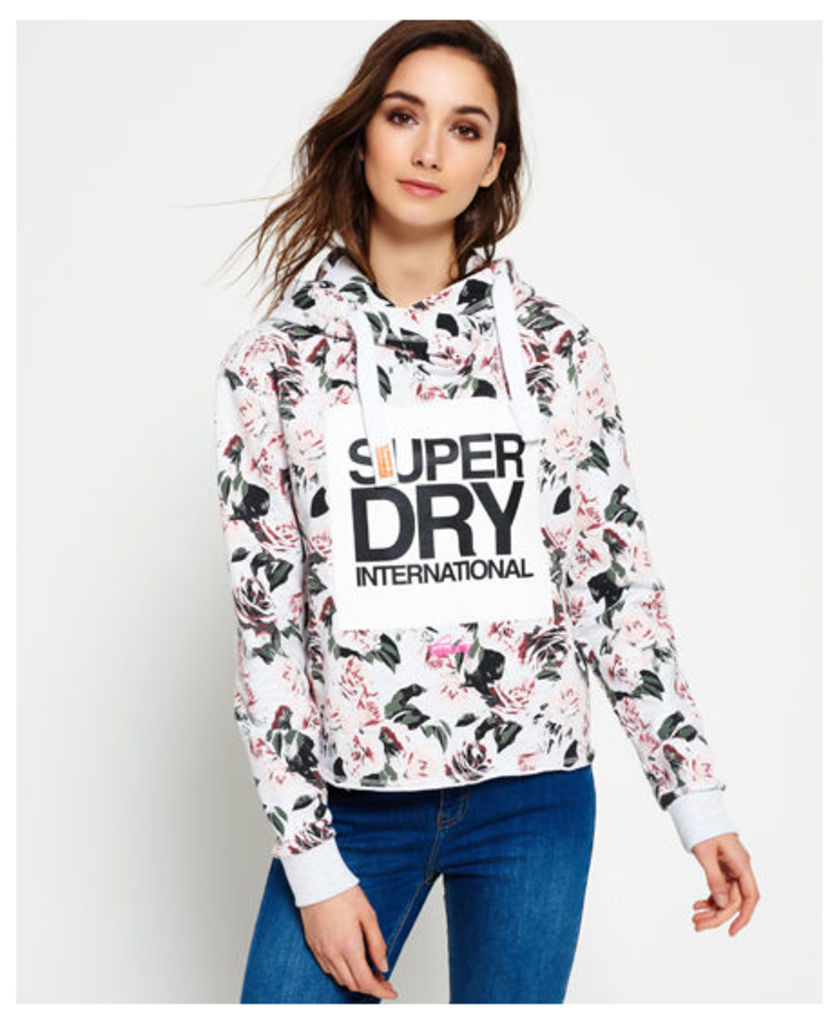 Superdry International Boxed All Over Print Cropped Hoodie