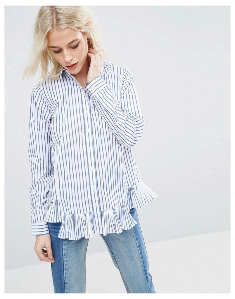ASOS Stripe Cotton Shirt with Ruffle Hem - Multi