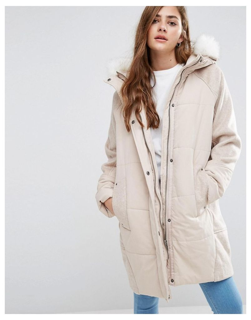 ASOS Wool Parka with Padded Front - Oatmeal
