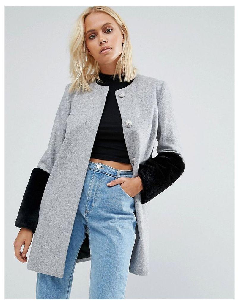 Helene Berman Faux Fur Cuff Coat In Grey With Black Fur - E30 pale grey