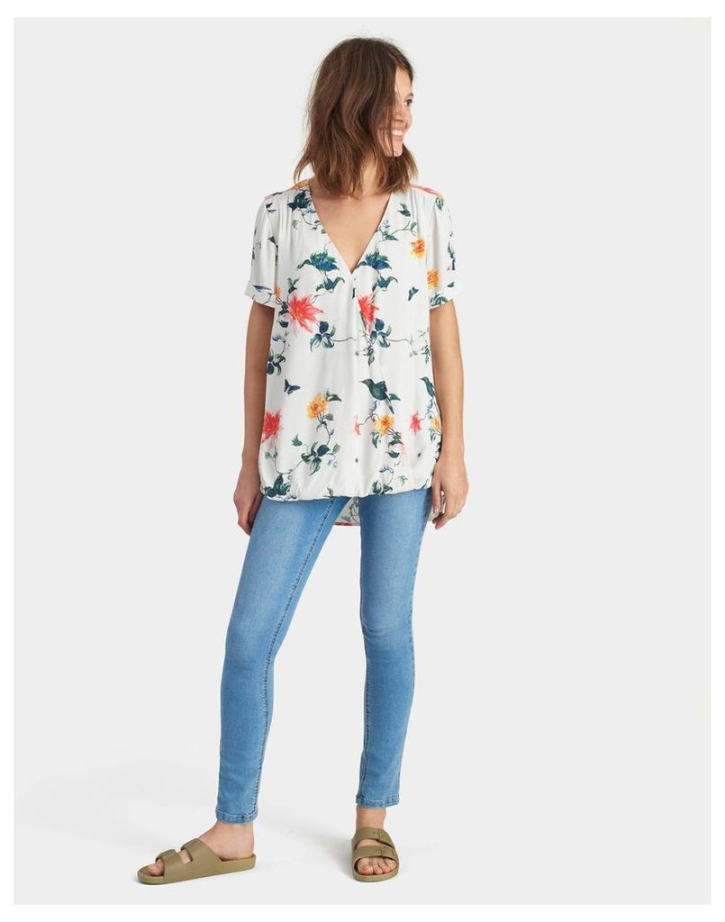 Cream Bird Clematis Hallie Printed Woven Top  Size 18 | Joules UK