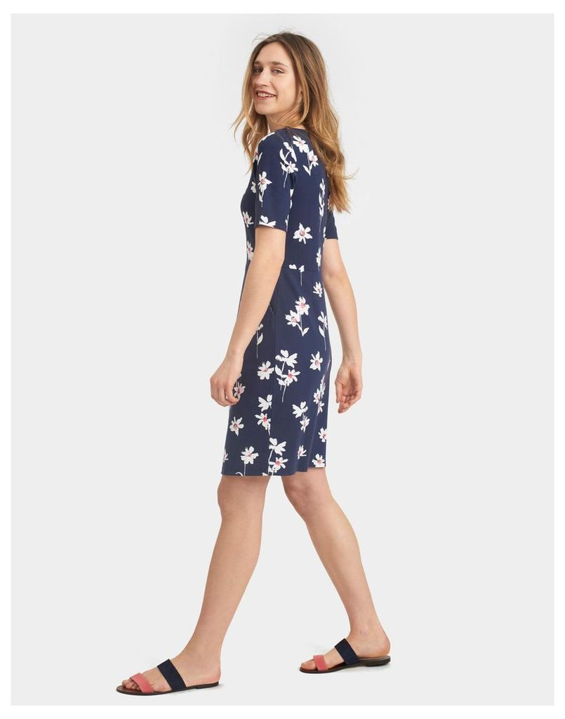 French Navy Ditsy Beth Stretch Pleat Dress  Size 16 | Joules UK