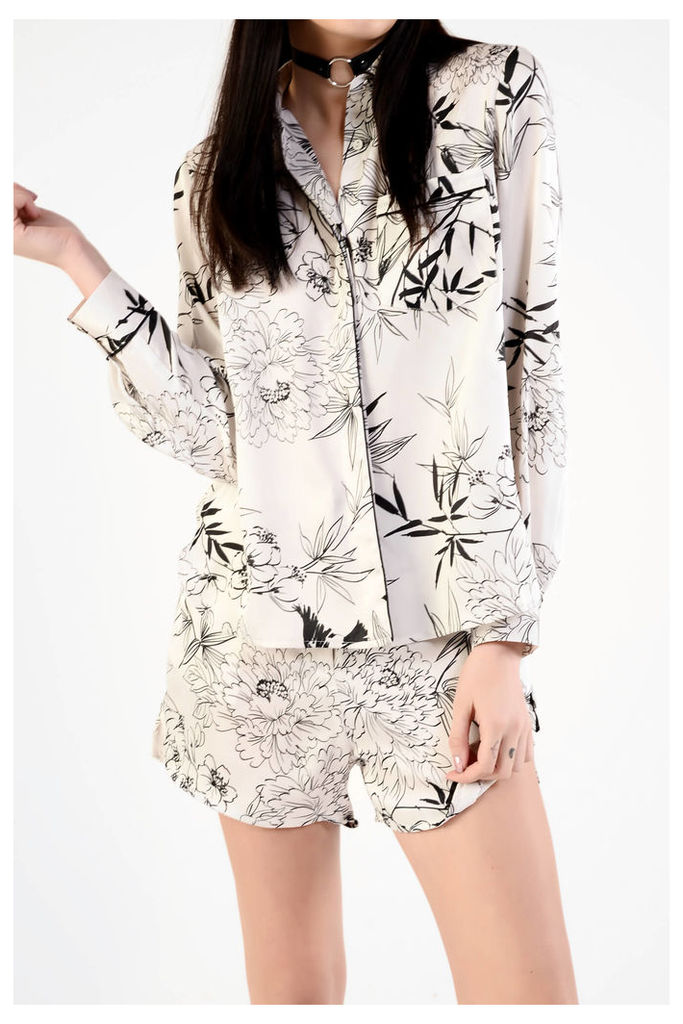 White Black Floral Printed Blouse