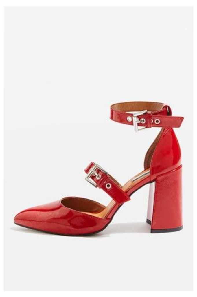 Womens GUSTO Buckle Strap Block Heels - Red, Red