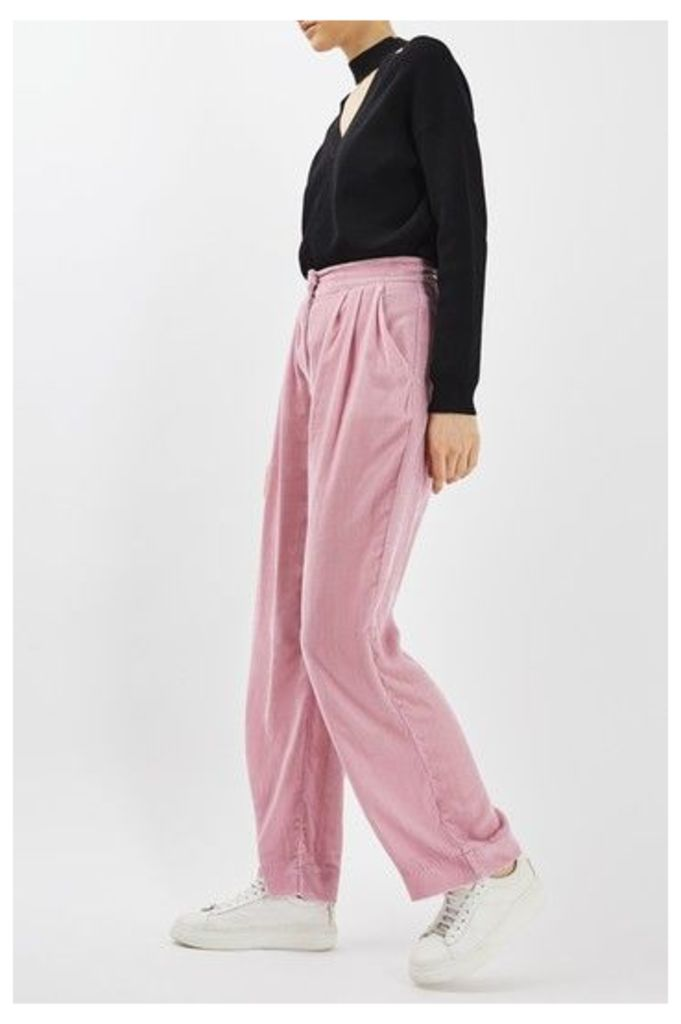 Womens Velvet Wide Leg Trouser by Boutique - Pale Pink, Pale Pink