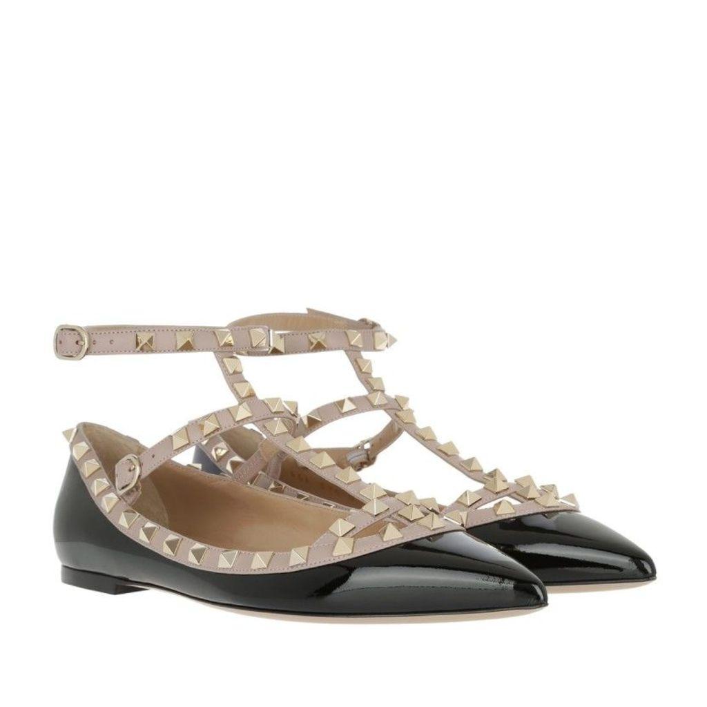 Valentino Ballerinas - Rockstud Ballerina Patent Leather Nero/Poudre - in black - Ballerinas for ladies