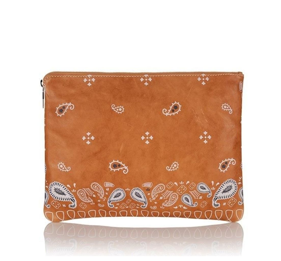 Oversized Clutch Bag Light Tan Bandana Print