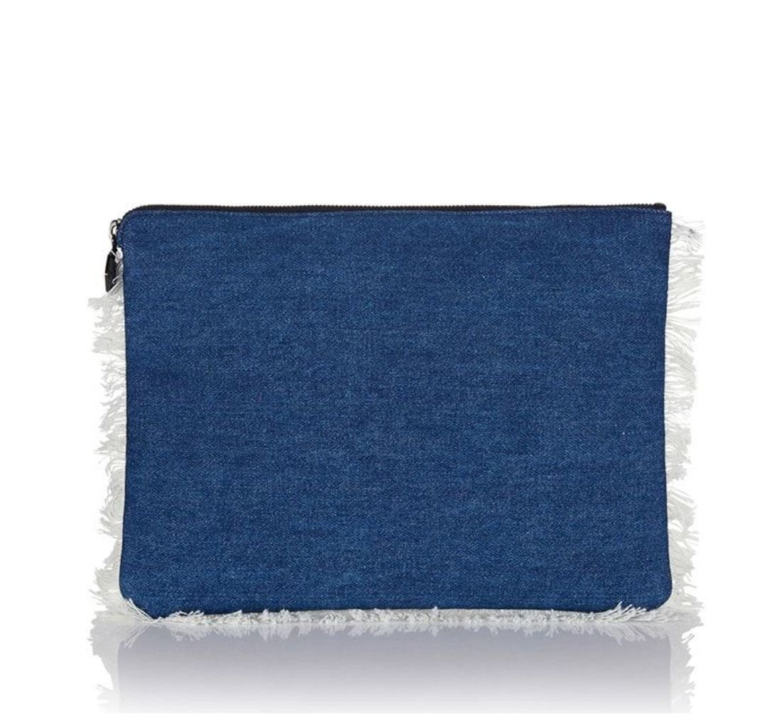 Oversized Clutch Bag Blue Denim