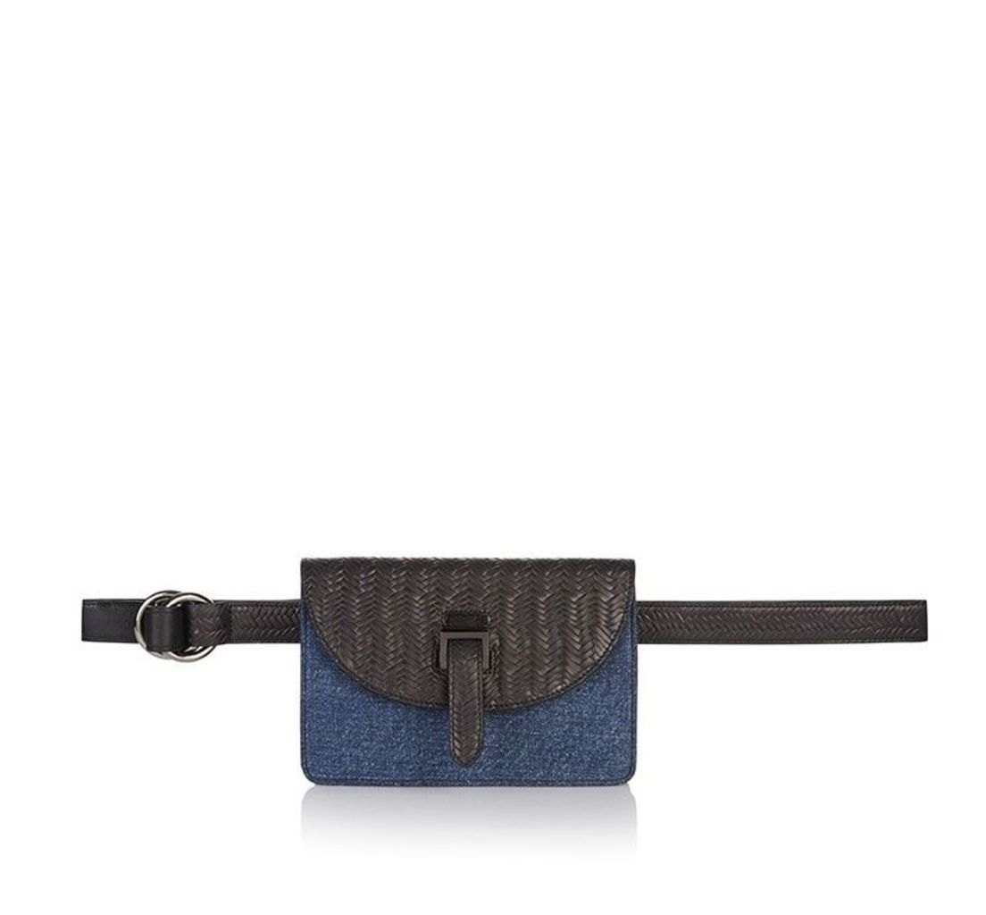 Bum Bag Denim and Black Woven