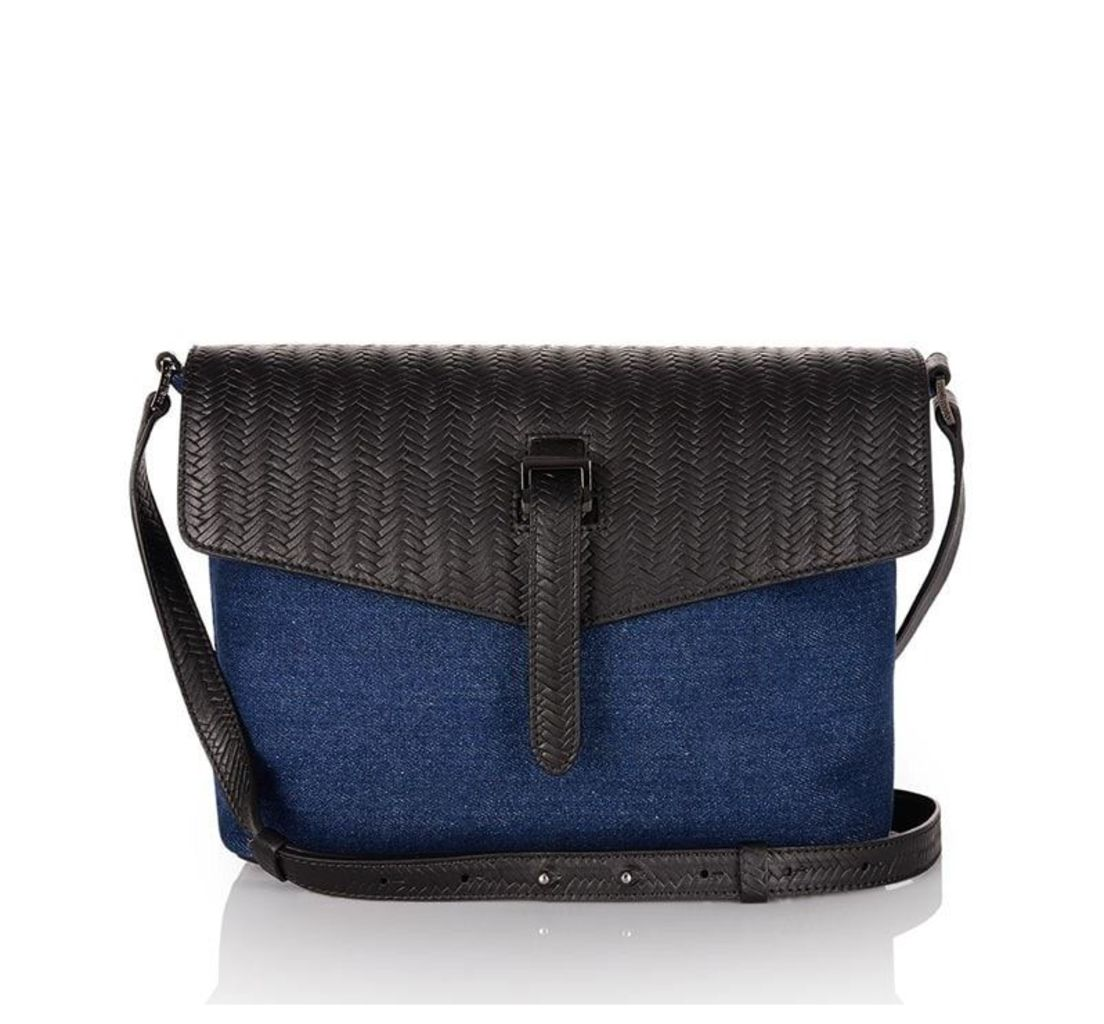Maisie Medium Cross Body Bag Denim and Black Woven Leather