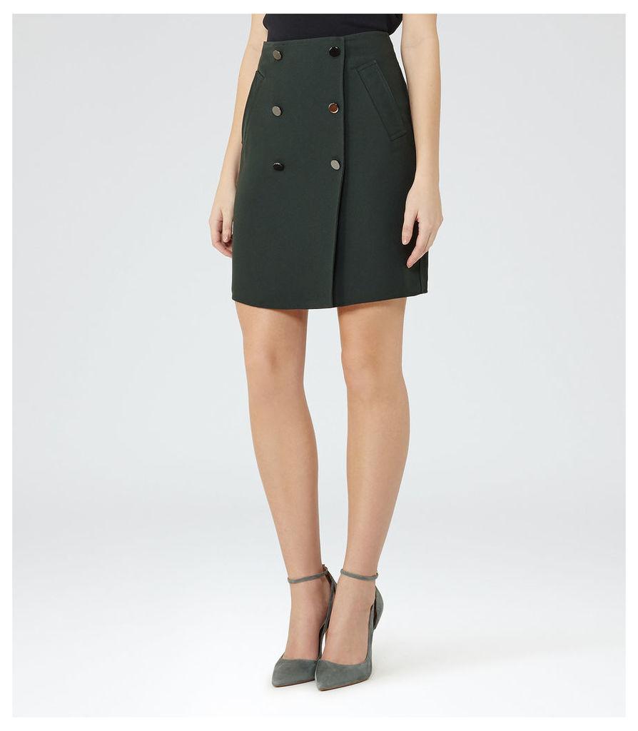 REISS Saffron - Womens Button-front Skirt in Green