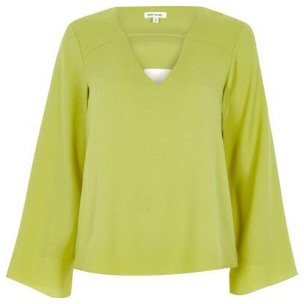 River Island Womens Green green twist back bell sleeve blouse