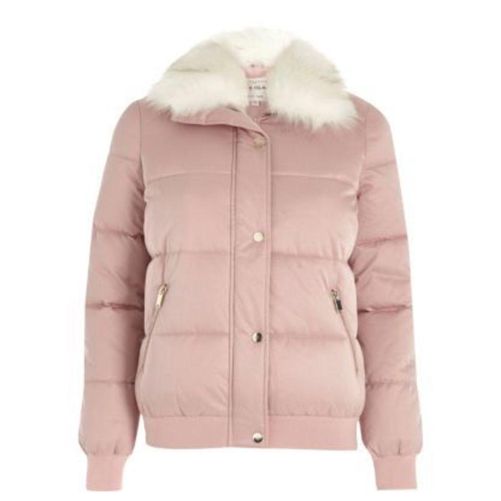 River Island Womens Pink faux fur trim puffer jacket