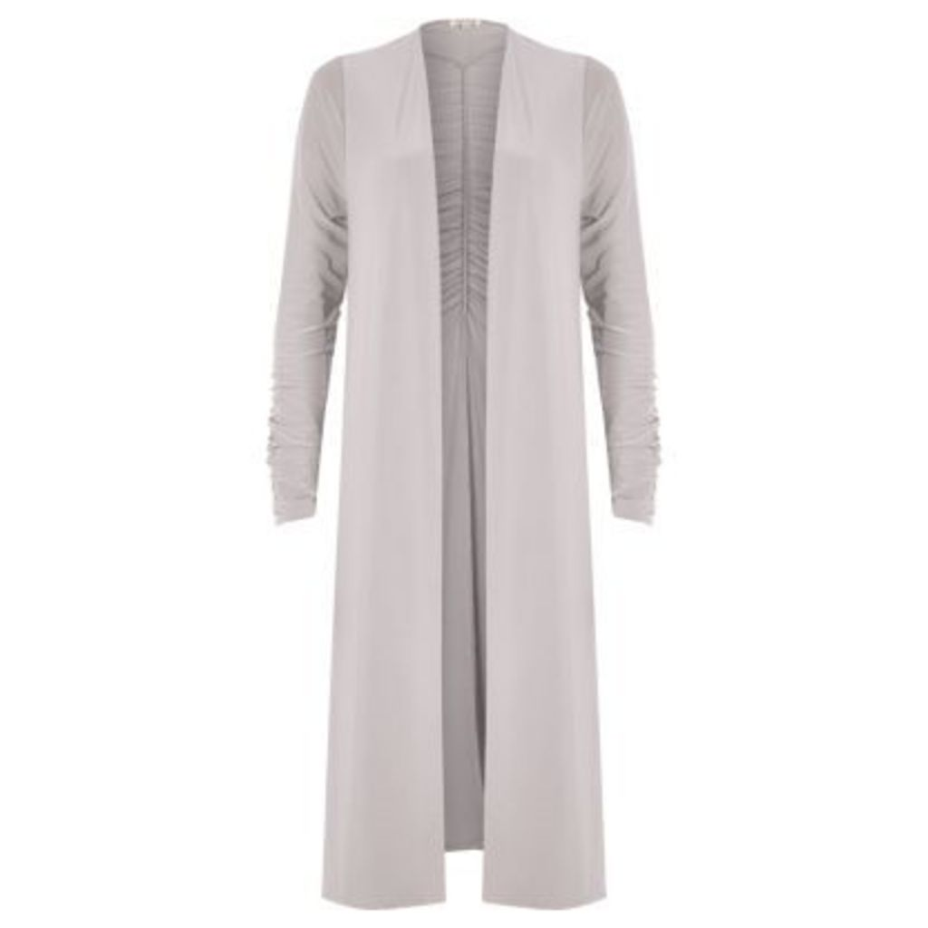 River Island Womens Light Grey ruched longline duster jacket