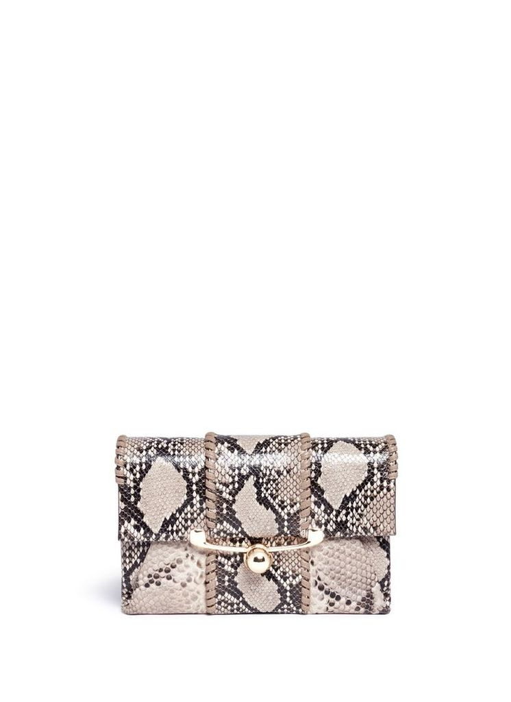 'Belle' python embossed leather clutch