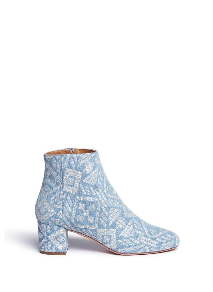 'Brooklyn' geometric embroidered denim boots