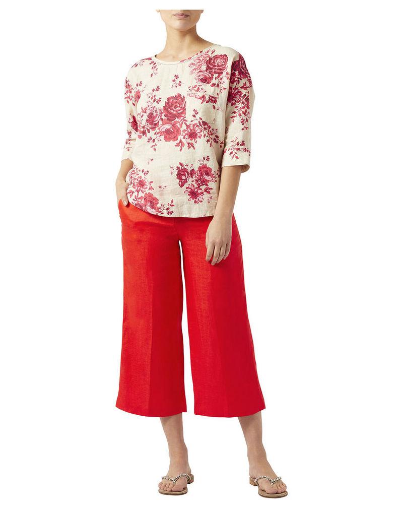 Tea Rose Linen Print T-shirt
