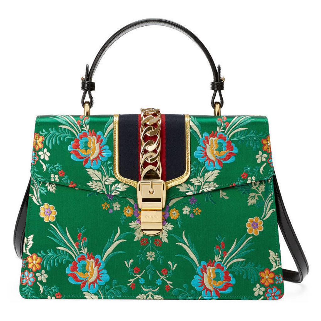 Sylvie floral jacquard top handle bag