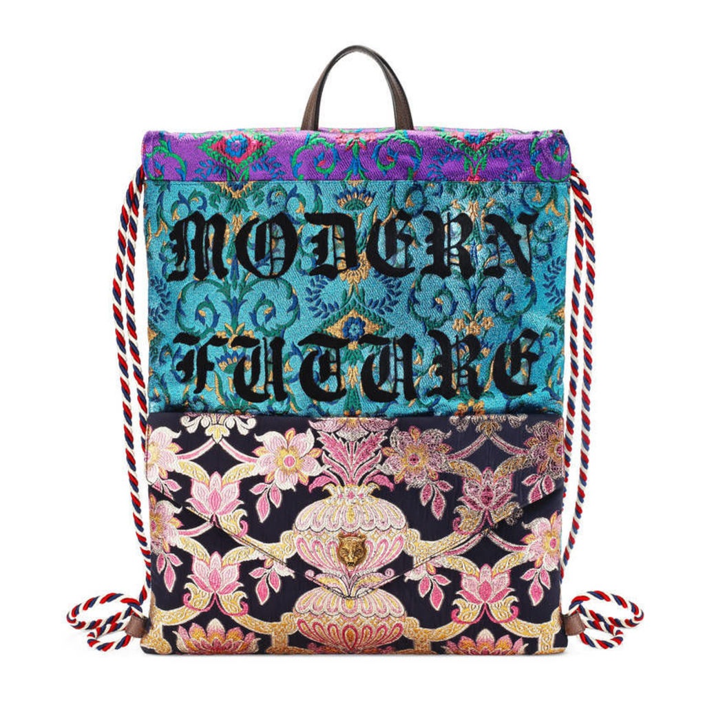 Embroidered brocade drawstring backpack