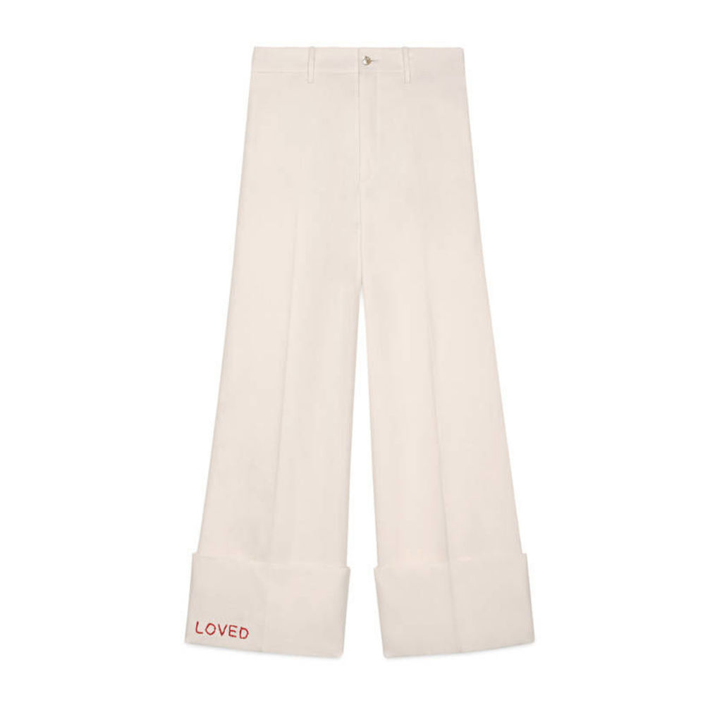 Embroidered wide leg cuffed pant