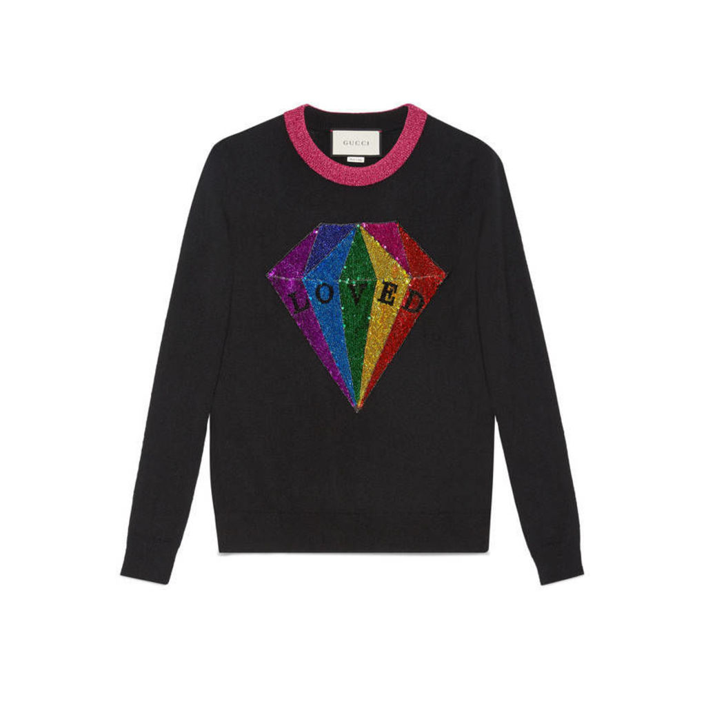 Sequin diamond cashmere top