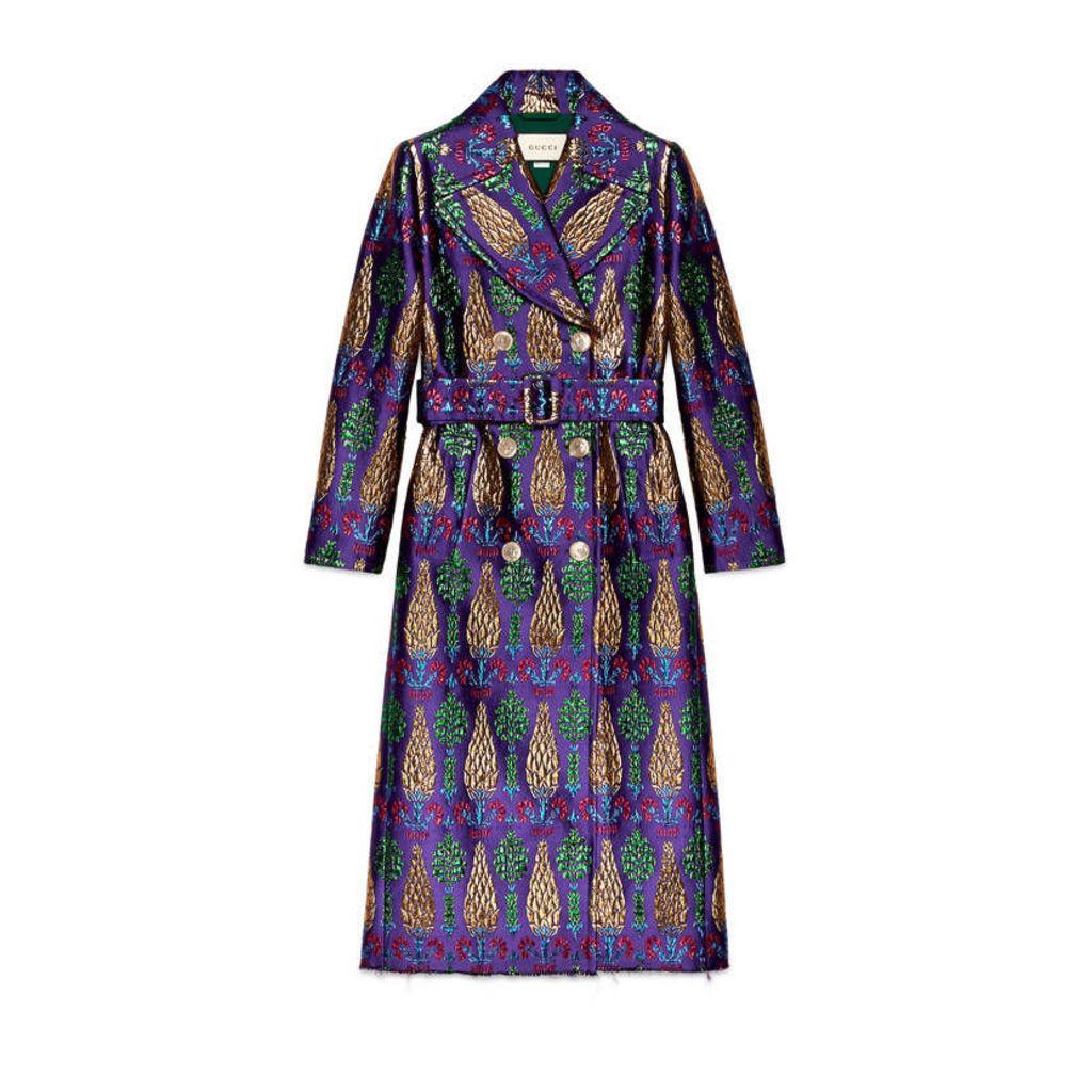Belted lurex jacquard coat