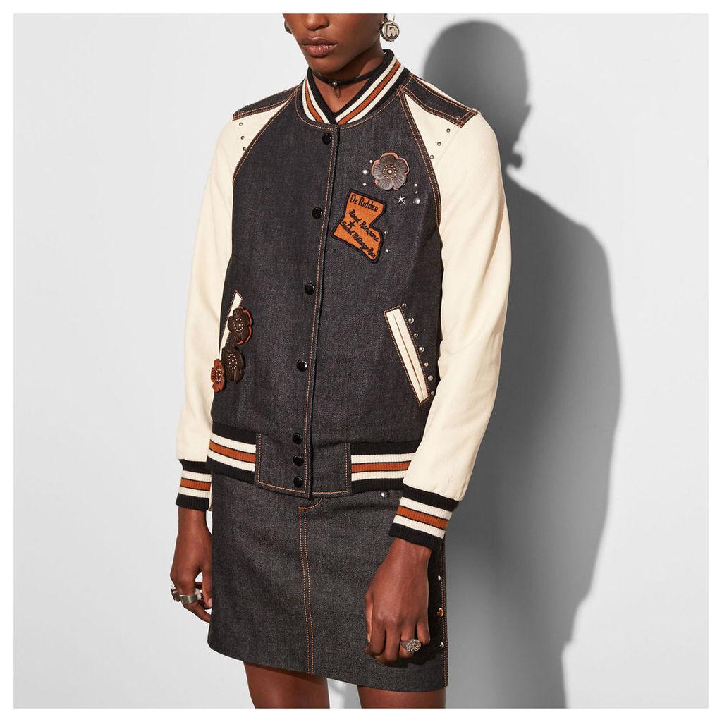 Coach Embellished Denim Varsity Jacket