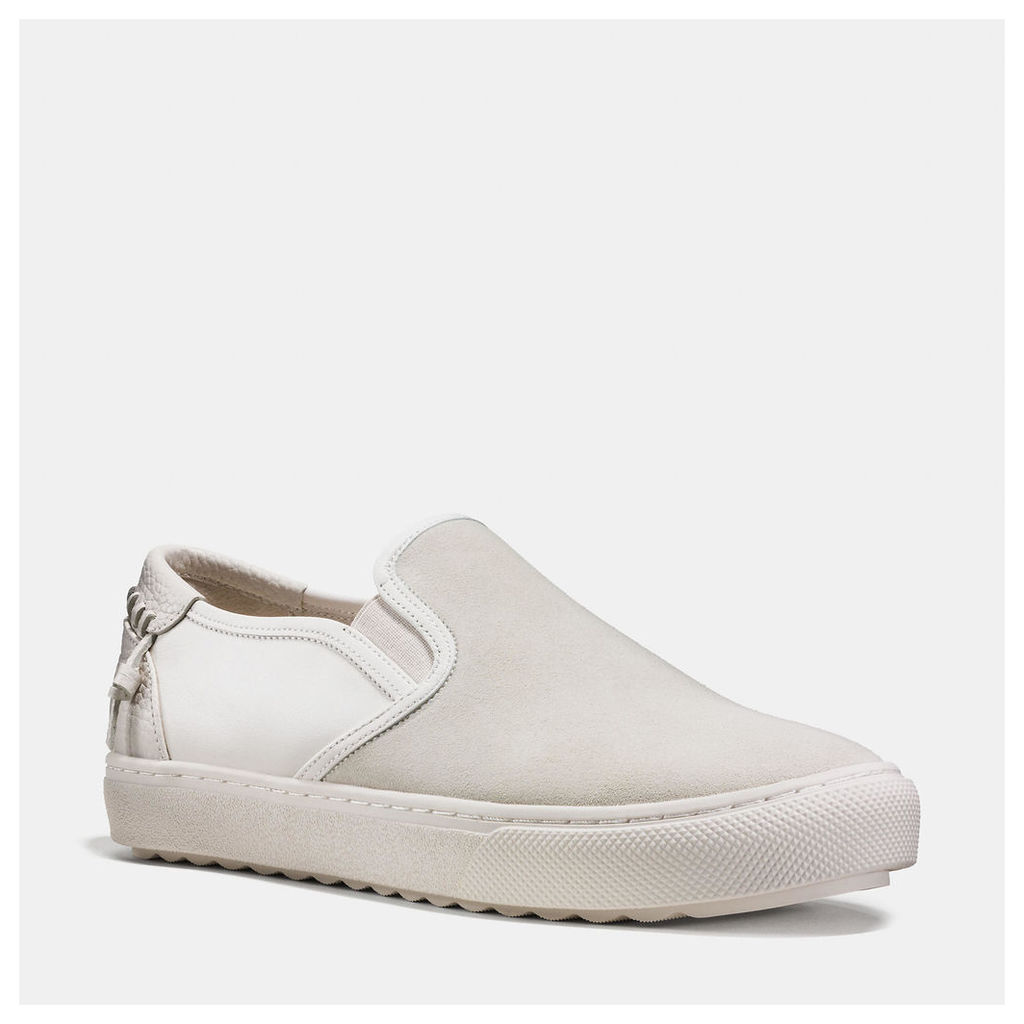 Coach C115 Leather And Suede Slip On Sneaker