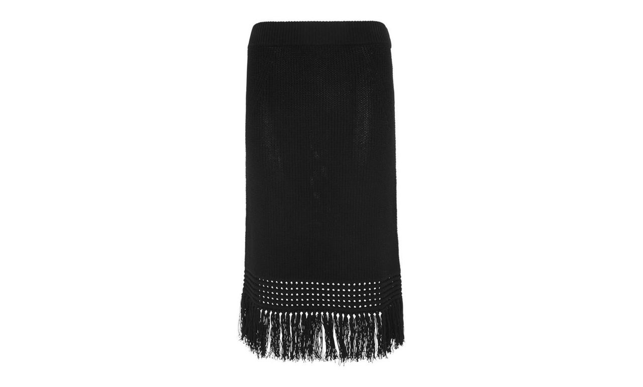Fringe Hem Cotton Knit Skirt