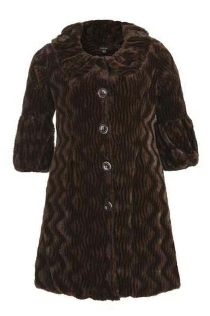 Plus Size Faux Fur Tailored Jacket